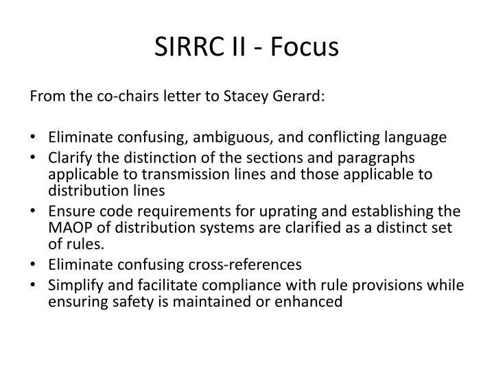 SIRRC II - Focus