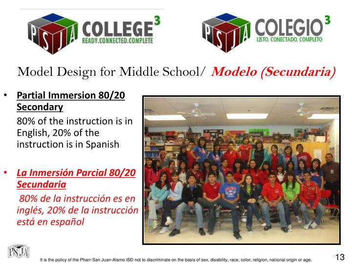 Model Design for Middle School/