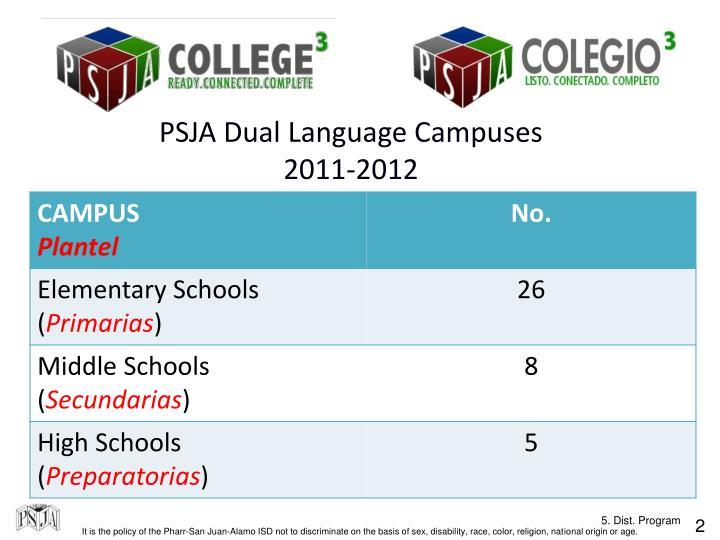 PSJA Dual Language Campuses