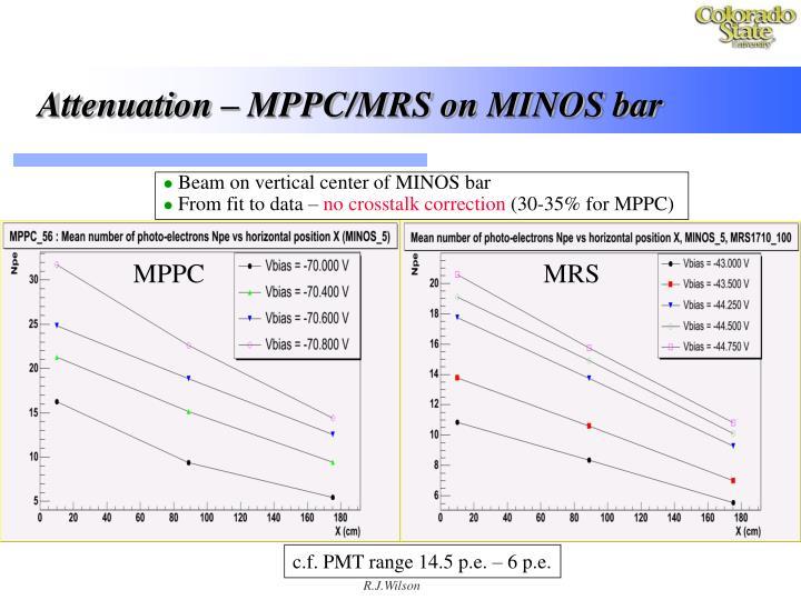 Attenuation – MPPC/MRS on MINOS bar