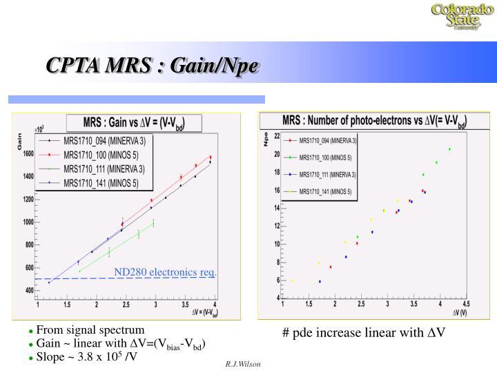 CPTA MRS : Gain/Npe