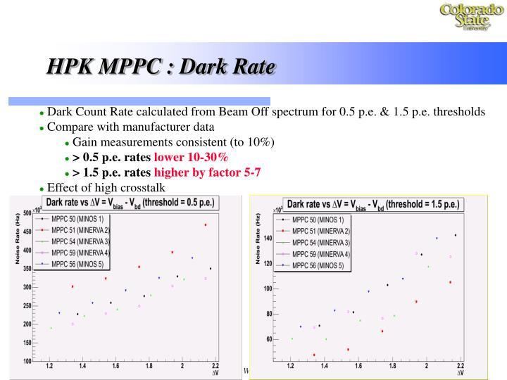 HPK MPPC : Dark Rate