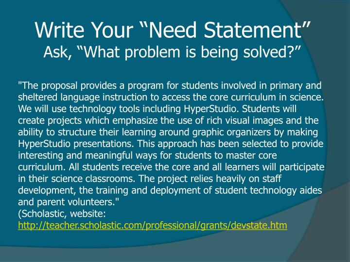 "Write Your ""Need Statement"""