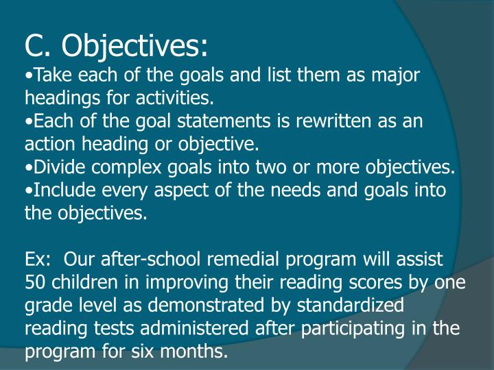 C. Objectives: