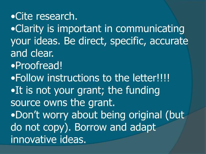Cite research.