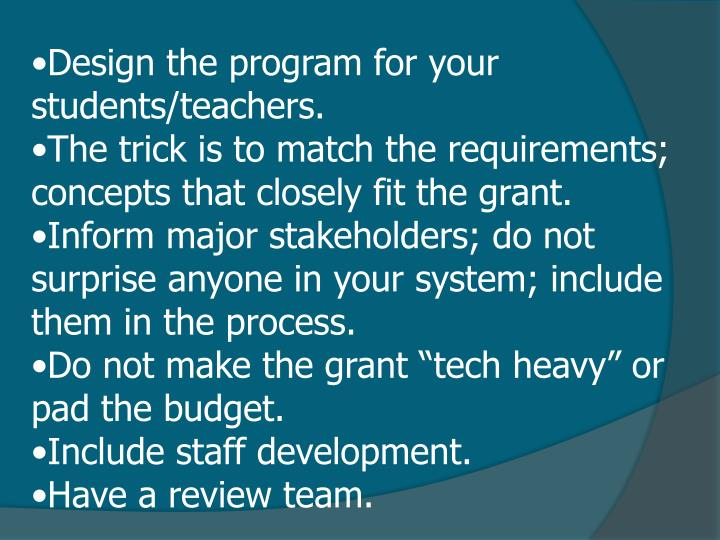 Design the program for your students/teachers.