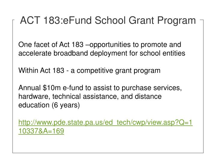 ACT 183:eFund School Grant Program