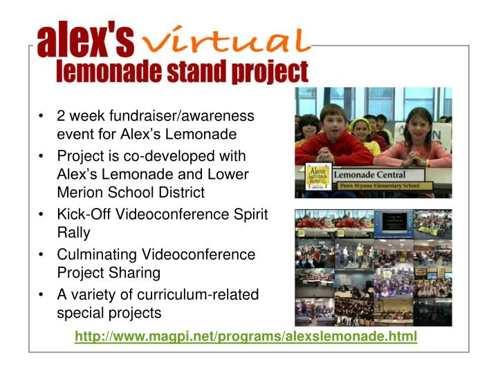 2 week fundraiser/awareness event for Alex's Lemonade