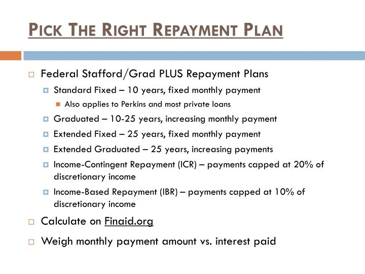 Pick The Right Repayment Plan