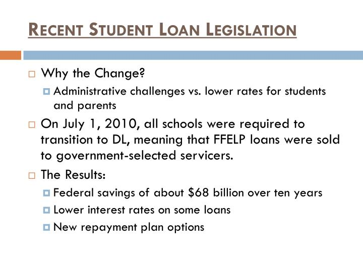 Recent Student Loan Legislation