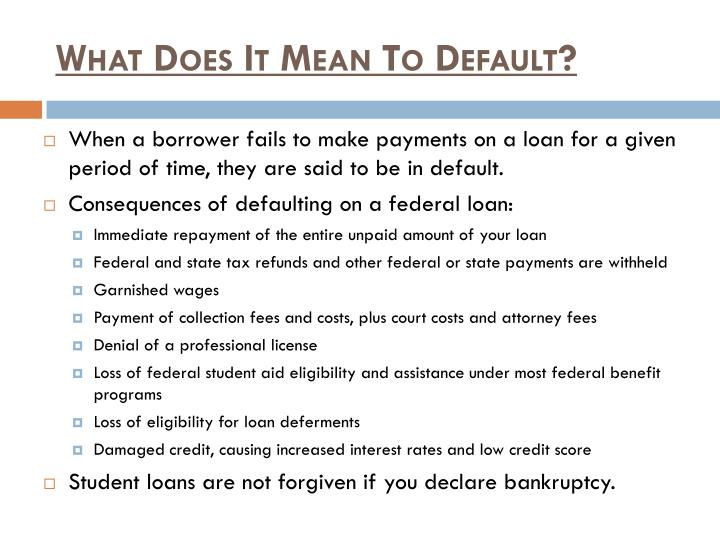 What Does It Mean To Default?