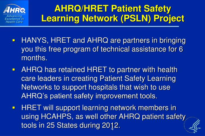 AHRQ/HRET Patient Safety Learning Network (PSLN) Project