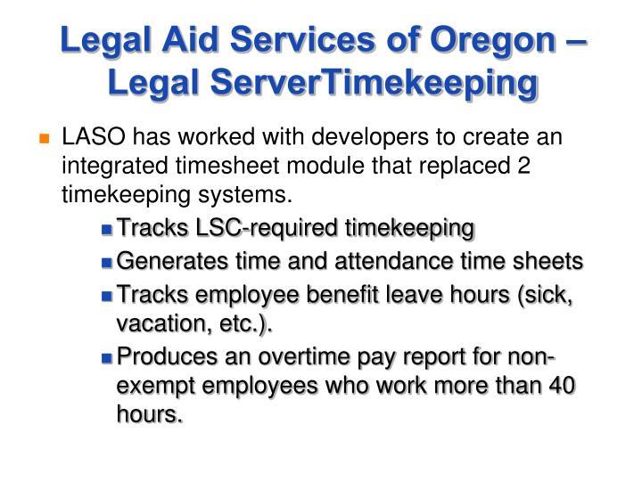 Legal Aid Services of Oregon – Legal ServerTimekeeping