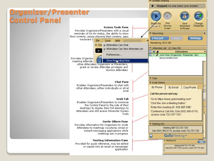 Organizer/Presenter Control Panel