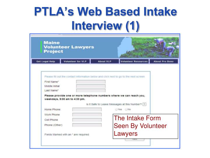 The Intake Form Seen By Volunteer Lawyers