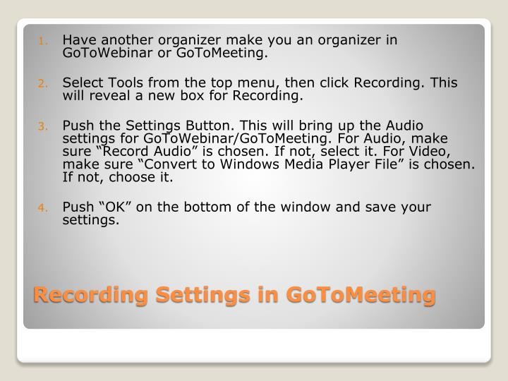Recording Settings in GoToMeeting