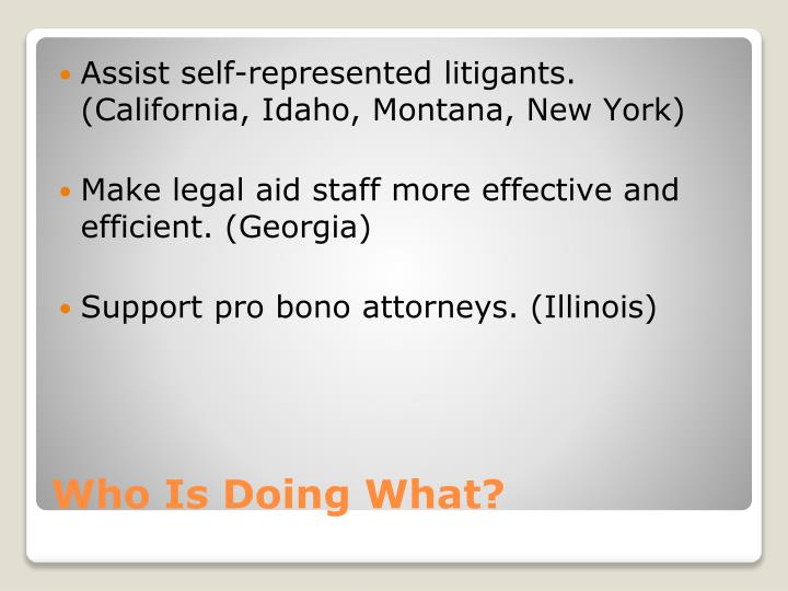 Assist self-represented litigants. (California, Idaho, Montana, New York)