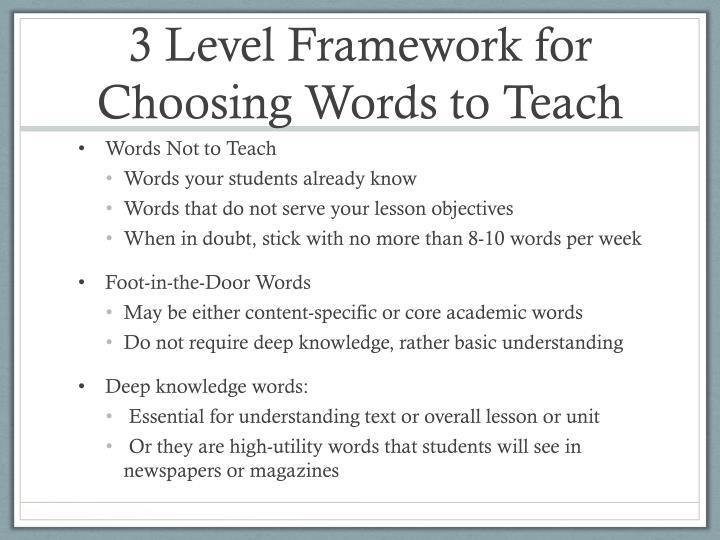 3 Level Framework for Choosing Words to Teach