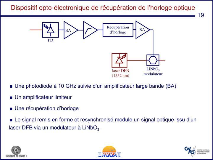 Dispositif opto-électronique de récupération de l'horloge optique
