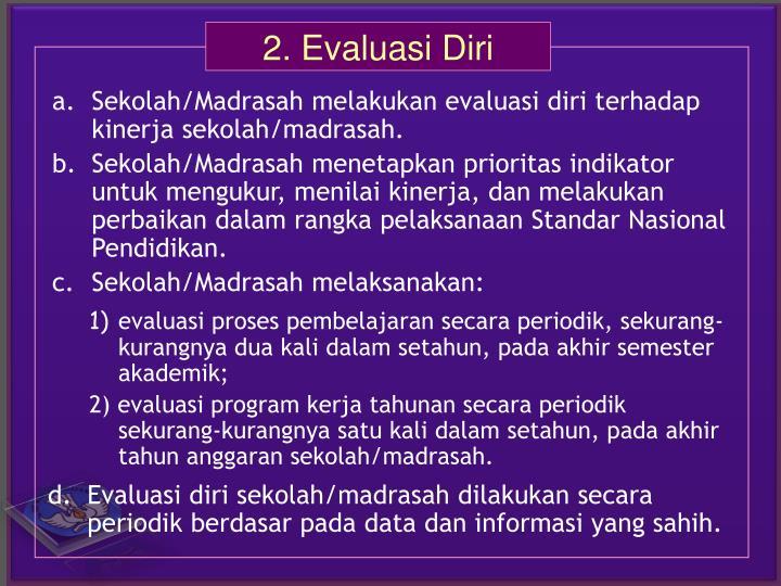 d.Evaluasi diri sekolah/madrasah dilakukan secara periodik berdasar pada data dan informasi yang sahih.