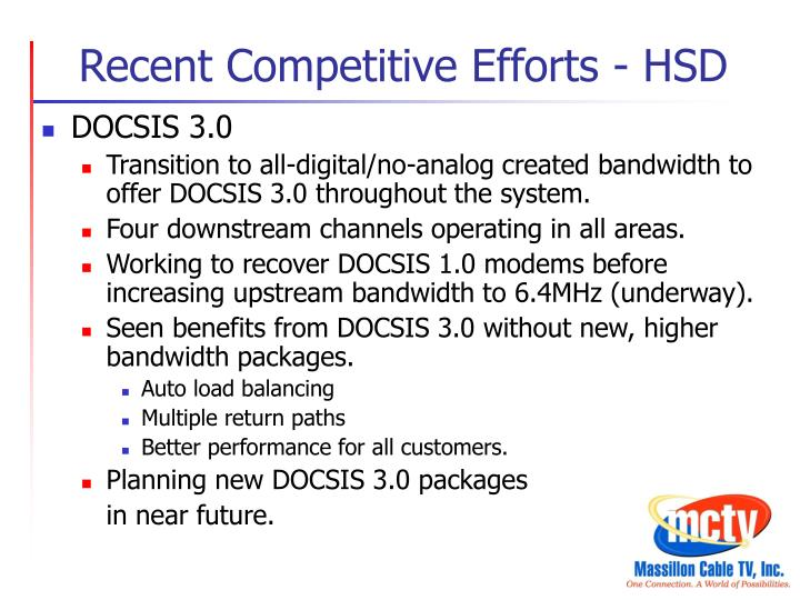Recent Competitive Efforts - HSD