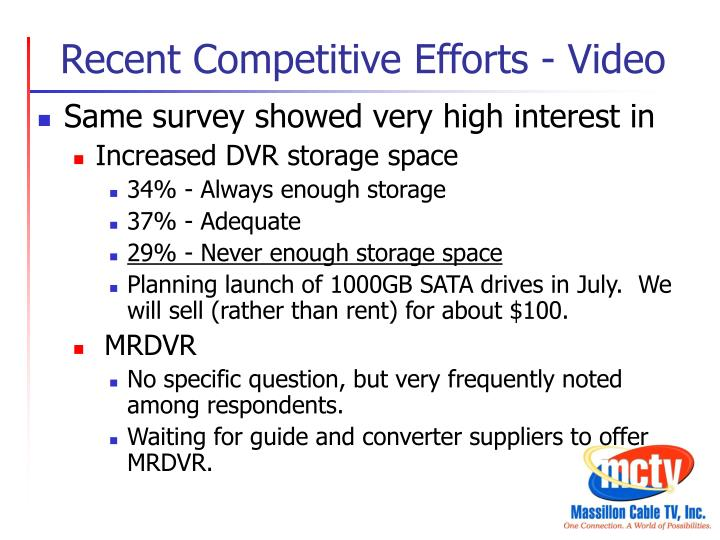 Recent Competitive Efforts - Video