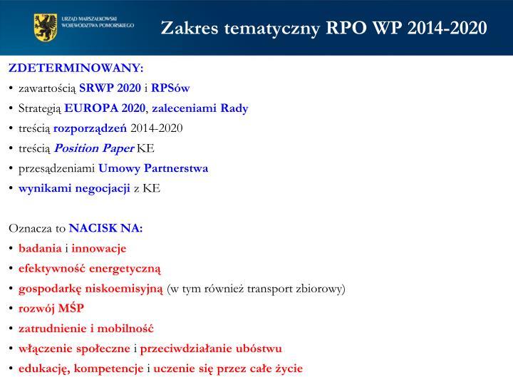 Zakres tematyczny RPO WP 2014-2020