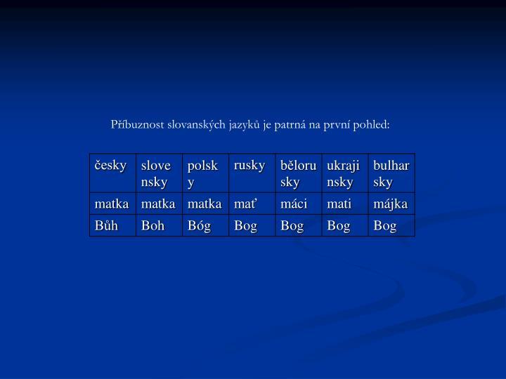 Příbuznost slovanských jazyků je patrná na první pohled: