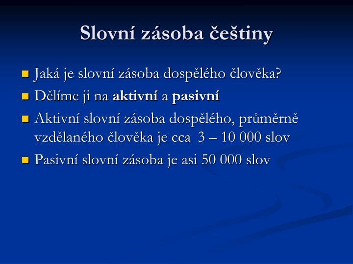 Slovní zásoba češtiny