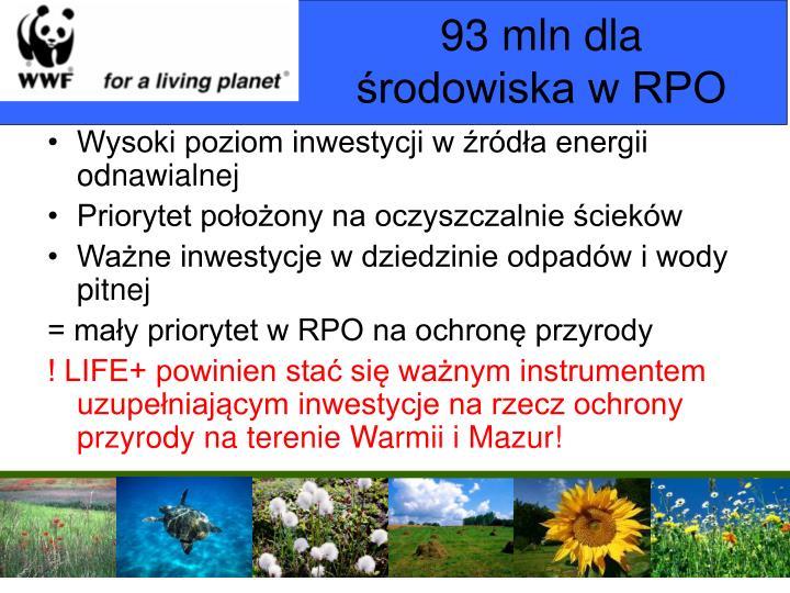 93 mln dla środowiska w RPO