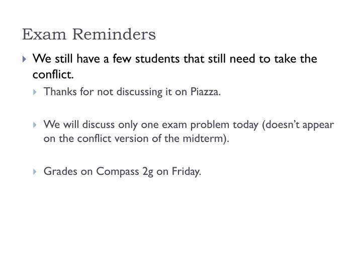 Exam Reminders