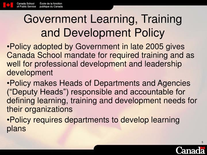 Government Learning, Training
