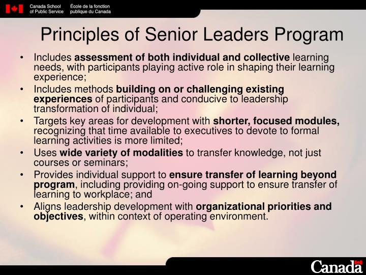 Principles of Senior Leaders Program