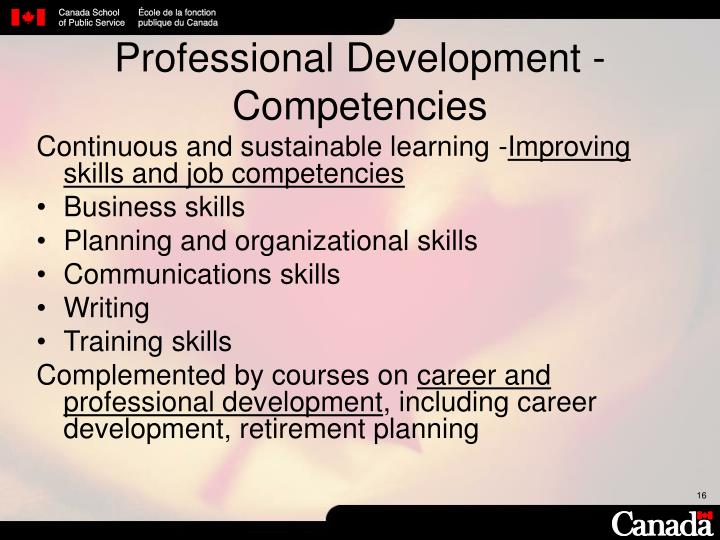 Professional Development - Competencies