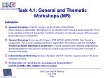 task 4 1 general and thematic workshops mr