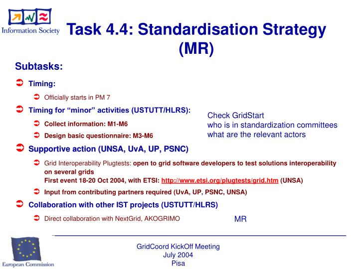 Task 4.4: Standardisation Strategy (MR)