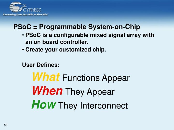 PSoC = Programmable System-on-Chip