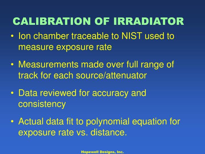 CALIBRATION OF IRRADIATOR