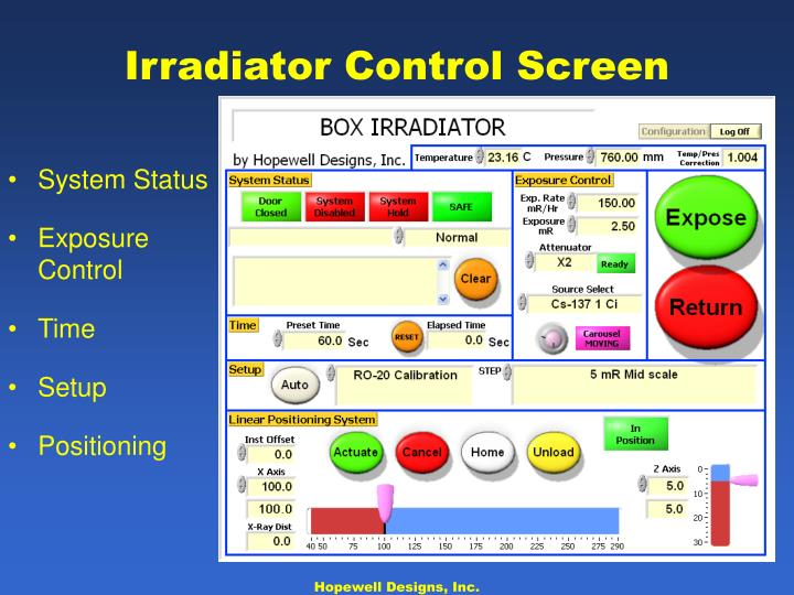 Irradiator Control Screen