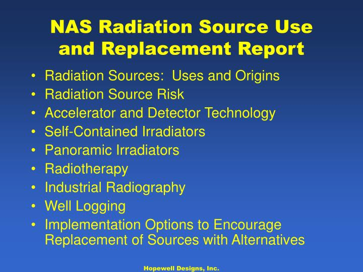NAS Radiation Source Use and Replacement Report