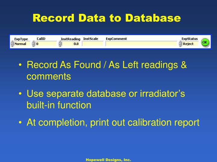Record Data to Database