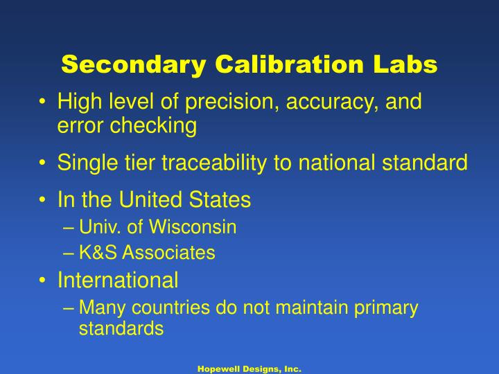 Secondary Calibration Labs