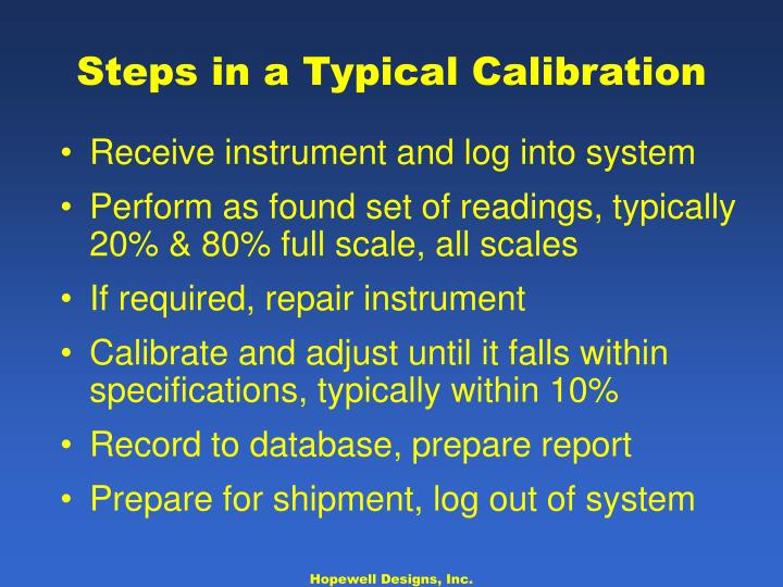 Steps in a Typical Calibration
