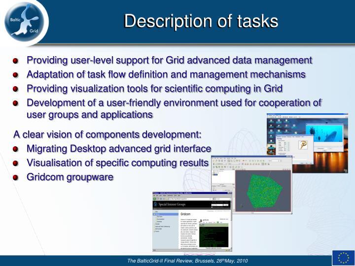 Description of tasks