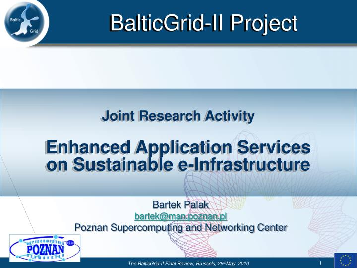 Joint research activity enhanced application services on sustainable e infrastructure