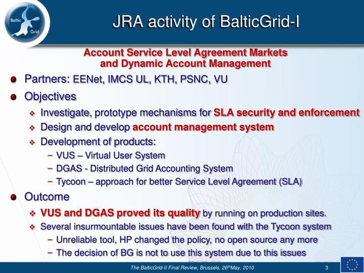 JRA activity of BalticGrid-I
