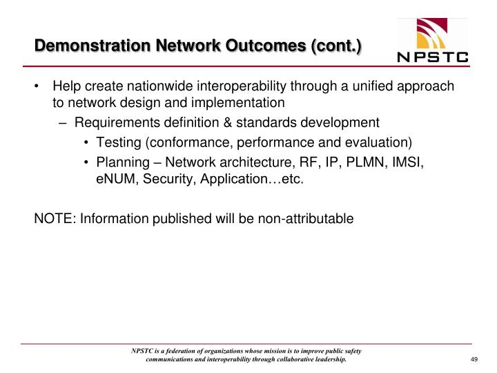 Demonstration Network Outcomes (cont.)
