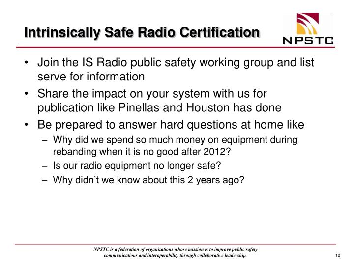 Intrinsically Safe Radio Certification