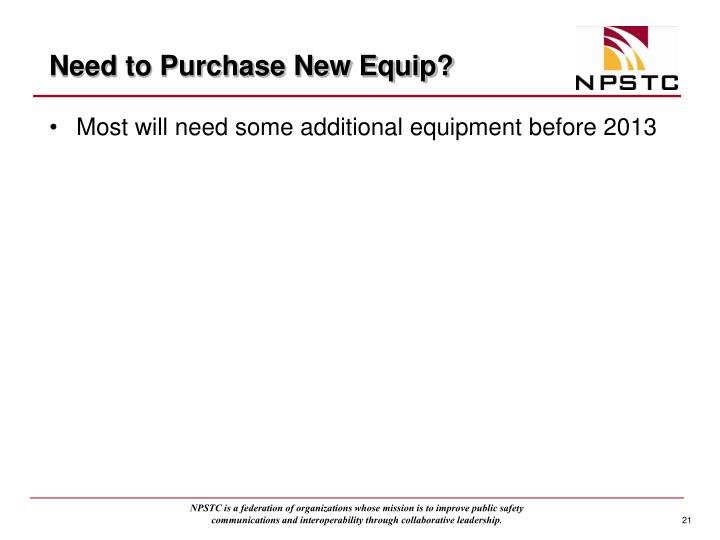 Need to Purchase New Equip?
