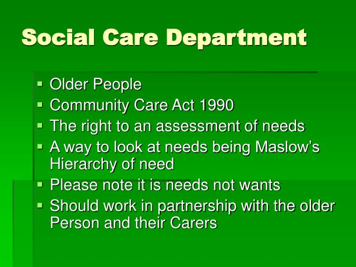 Social Care Department